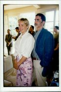 Actress Sharon Stone and husband Phil Bronstein attend garden party at Harrison Ford and Melissa Mathison