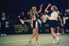 Anna Kournikova and Steffi Graf during a match in Switzerland.