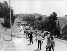 People marching together in Israel, one man waving Israel's flag.