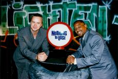 """Tim Robbins, actor here with the actress from """"Nothing to lose"""", Martin Lawrence"""