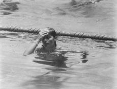 A woman after a swimming competition.