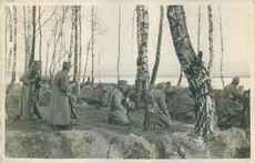 WW1 Eastern front. Austrian infantry in the trenches at Nida, Poland in 1914.