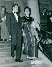 Prince Michael of Greece together with his wife going down the stairs.