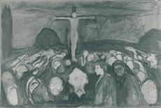 "Edvard Munch, ""Calvary"" oil on canvas black white picture"