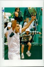 Argentine tennis player Eduardo Medica cheer over the final victory against Christian Ruud in the Ericsson Cup