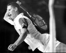 Henrik Holm serves during the match against Jakob Hlasek in Stockholm Open 1992