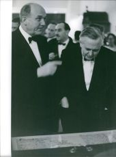 James Harold Wilson standing with a man in the party.