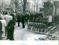 French film actress Martine Carol's funeral.
