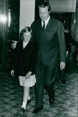 Albert II walking with his little girl.