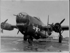 """An American military aircraft of the model """"Privateer""""."""