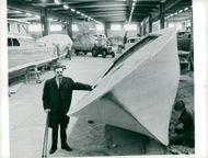Export manager Dick Gustafsson in the boat building hall at Storebro Use outside Vimmerby