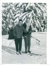 King Hussein of Jordan along with his ski instructor