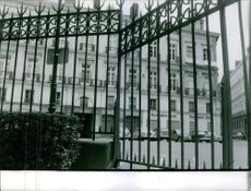 A view of building through the gate.