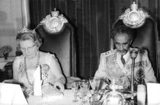 Queen Juliana having royal meal.