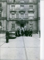 Ibn Saud, outside a building,  April 10, 1963.