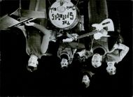 The Spotnicks playing thei musical instruments. 1966