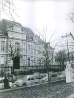 Front view of Pasteur Institute building in Paris a private foundation dedicated to the study of biology, micro-organisms, diseases, and vaccines.1966.