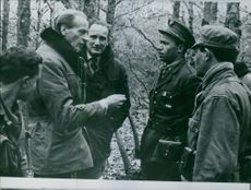 Soldiers standing together and talking in the forest.