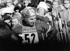 Aga Khan IV at the 1964 Winter Olympics, which were held in Innsbruck, Austria.  Photo taken on 5 Feb 1964