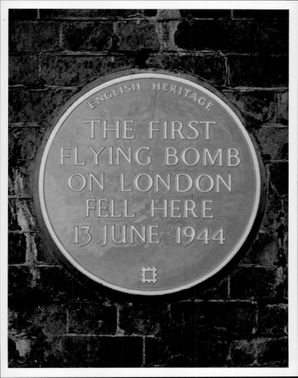 A memorial board at the site of the first London bombing that fell in 1944