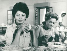 "The actors Sophia Loren and Zipora Peled in the movie ""Judith"""