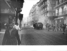 Men and Soldiers in the city of Algeria during Algerian war.