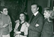 """Yves Montand during the film premiere of """"A Man and a Woman"""""""