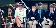 Princess Diana together with Prince William and Prince Harry