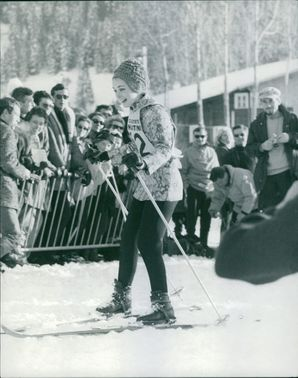 The woman is ice skating. January 12, 1966
