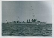 View of the French destroyer sirocco which runs in 3 days 2 under German sailors.