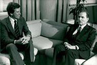 Gary Hart meets France's President Francois Mitterrand in New York