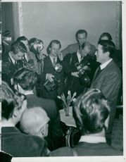 Gregory Peck at the press release at the Grand hotel