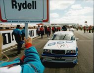 Rickard Rydell sets up to start in the Silverstone BTCC race.