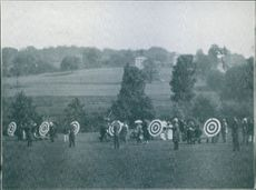 People gathered together and hitting arrows. NOT PHOTO - CUT OUT