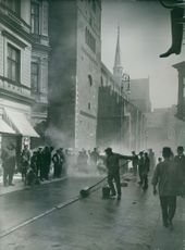 Workers working on street, 1914.