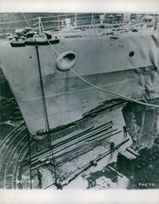 Repairing of the ship at the dry-dock.