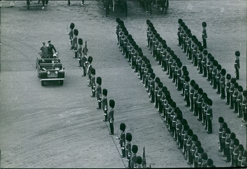 A parade in front of the royal guards. April 11, 1960