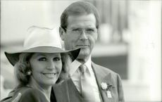 Roger Moore with his wife Luisa at Epsom