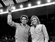 Tom Gorman and Björn Borg thank the audience after the finals in Stockholm Open 1973