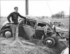 Janne Gustafsson from his wrecked car after car accident
