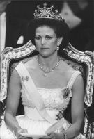 Portrait of Queen Silvia during a celebration ceremony