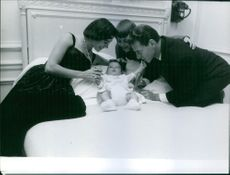 Marisa Pavan and Jean-Pierre Aumont with their two kids Jean-Claude and Patrick.