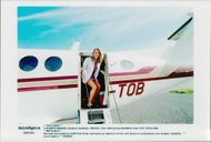 German tennis player Steffi Graf in South Africa climbs the plane