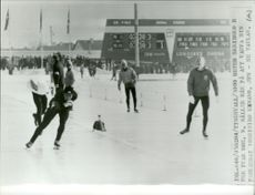 Per Ivar Moe wins his park mate Yoshihiro Kawano at 5000 meters skating during the Winter Olympics in Innsbruck in 1964