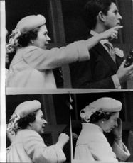 Queen Elizabeth and Prince Charles at the horse races in Epson. The lower pictures show the Queen's disappointment when the horse Milford was not placed