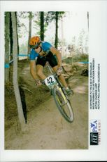 Mountain bike cyclist Roger Persson in action today