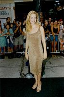 """Portrait image of Kelly Preston when she arrives at the premiere of Steven Spielberg's """"Saving Private Ryan""""."""