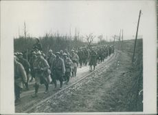 Soldiers marching on road.1935
