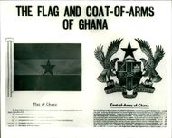 The flagand coat of arms of ghana.