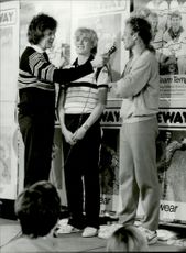 Vitas Gerulaitis poses in advertising jippo in connection with the Stockholm Open 1983